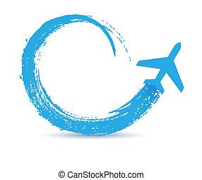 civil, senderos, aviones, icono