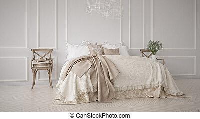 clásico, dormitorio, minimalistic, diseño de interiores, blanco
