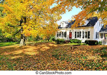Clásico exterior de casa americana en el otoño.