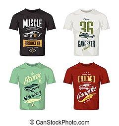 Clásico gánster clásico y vector de vehículos musculares logotipo de camiseta.