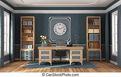 clásico, hogar, de madera, oficina, azul, estilo, muebles, paredes
