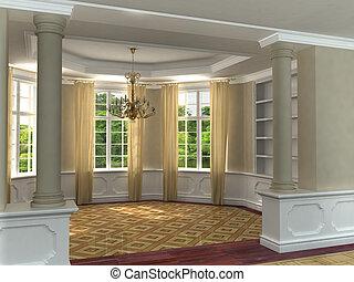 clásico, interior, 3d, lujoso