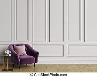 clásico, interior, copetudo, sillón