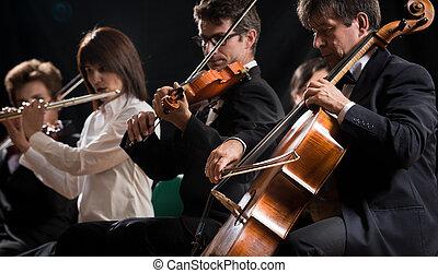 clásico, orquesta, sinfonía, concert:, música, etapa