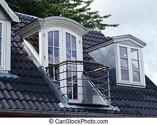 clásico, vertical, windows, moderno, techo, diseño, balcón