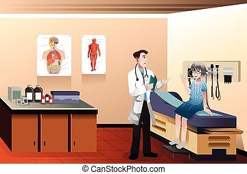 clínica, doctor, paciente
