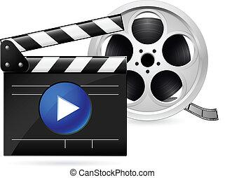Clapboard de cine y rollo de película