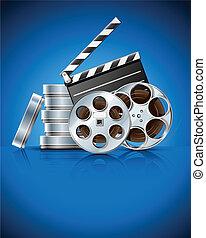 Clapper de cine y cinta de video en disco