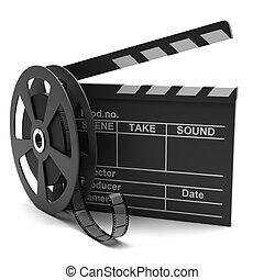 Claqueta de cine y película