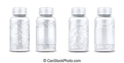 claro, píldoras, medicina, cápsulas, botellas
