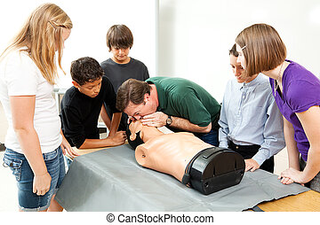 Clase de salud de la secundaria - RCP