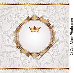 Clase dorada con corona heráldica, textura floral sin costura