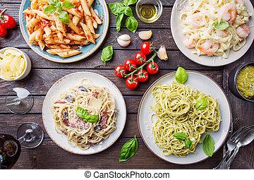 clases, diferente, salsa de pasta