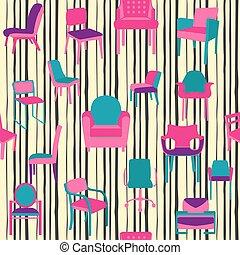 clases, patrón, style., plano, sillas, diferente