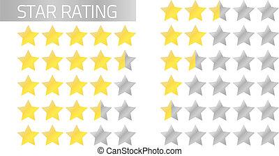 clasificación, barras, estrella