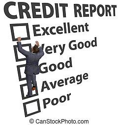 clasificación, empresa / negocio, arriba, credito, raya, construya, hombre
