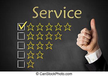 clasificación, servicio, arriba, pulgares, estrellas, pizarra