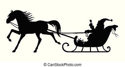 claus, paseos, sleigh, santa, tirado por caballos