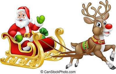 claus, santa, reno, sleigh, navidad, caricatura, trineo