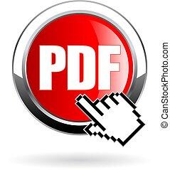 clic, vector, formato, descargue, pdf, icono, botón, archivo