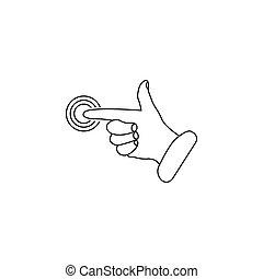 Click, icono de mano. Ilustración de vectores en blanco