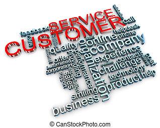 cliente, 3d, servicio, etiquetas