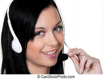 cliente, auriculares, mujer, service., teléfono, hotline