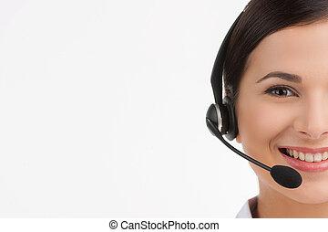 cliente, auriculares, servicio, alegre, joven, aislado, representative., mientras, cámara, representante, hembra, retrato, sonriente, mirar, blanco, hermoso
