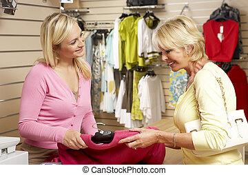 cliente, ayudante, ropa, ventas, tienda