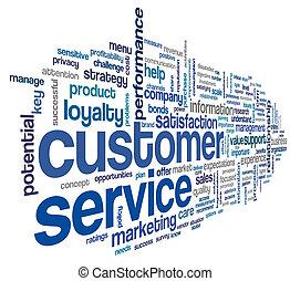 cliente, concepto, palabra, nube, servicio
