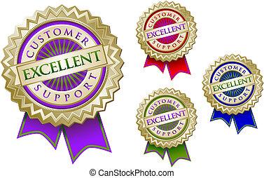 cliente, conjunto, emblema, colorido, apoyo, excelente, sellos, cuatro, ribbons.