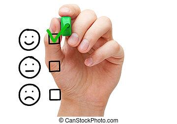 cliente, evaluación, servicio, excelente