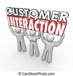 cliente, interacción, compromiso, participación, palabras, clientes, 3d