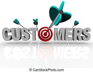 clientes, golpe, blanco, -, flechas, palabra