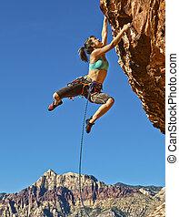 climber., hembra, roca
