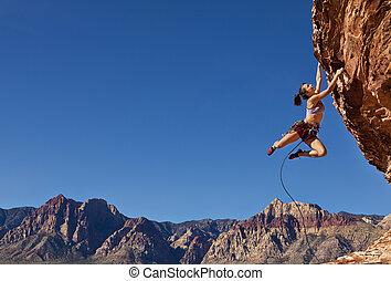 climber., impresionante, roca
