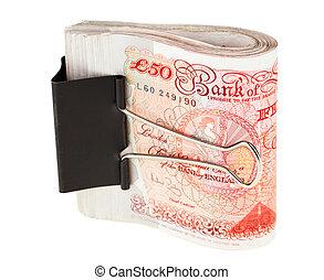 clip, papel, esterlina, 50, banco, libra, aislado, lío, blanco, atar, notas
