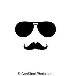 clipart., silueta, vector, moustaches, gafas de sol, aislado, negro