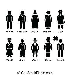 cliparts, religión, gente, iconos