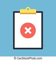 Clipboard y X. Clipboard y icono redondo rojo con marca cruzada. Elementos gráficos de diseño plano moderno. Ilustración de vectores