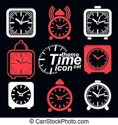 clocks, alarma, vector, ajustado, 3d