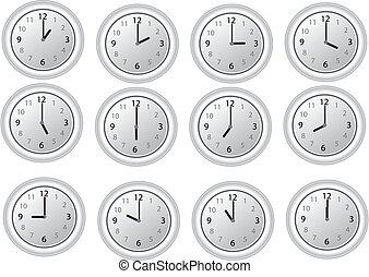 clocks, blanco, las 12