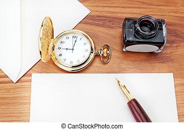 close-up., la habana, preparando, cigar., escribir, carta