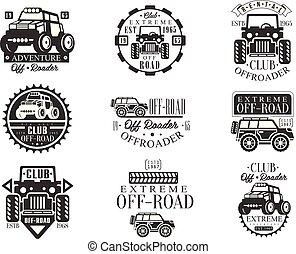 Club de alquiler de bicicletas cuadradas de emblemas con siluetas de transportes en blanco y negro