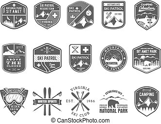 Club de esquí, etiquetas de patrulla. Diseño de Logo de Aventureros de la Montaña Vintage. Insignia de monocromo monocromo a mano dibujada y hipster. El símbolo del icono de la snowboard. Wilderness. Vector