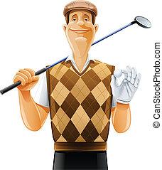 club, jugador, pelota, golf