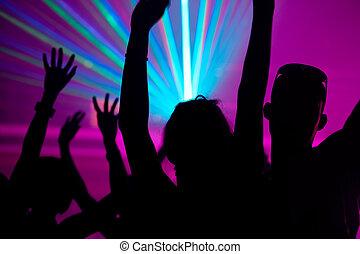 club, laser, gente, bailando