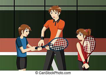 club, tenis, instructor, niños
