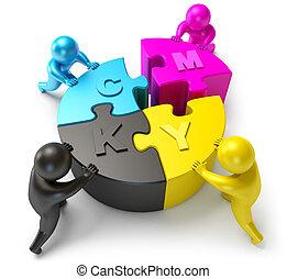 cmyk, parte, diagram., conectar, gente
