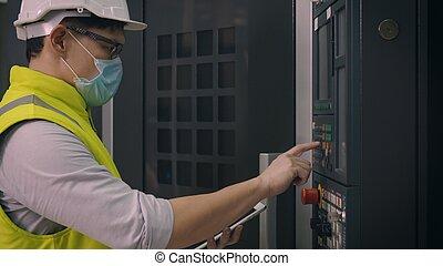cnc, se apiñar, trabajador, máquina, programación, control, hombre, operar, automatizado